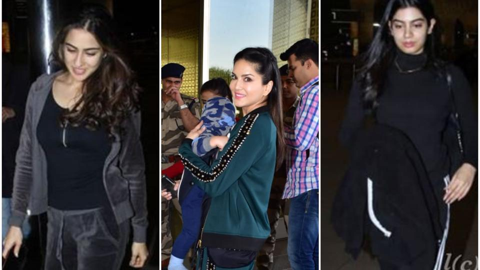 Sara, Sunny, Khushi rock the athleisure style at the airport