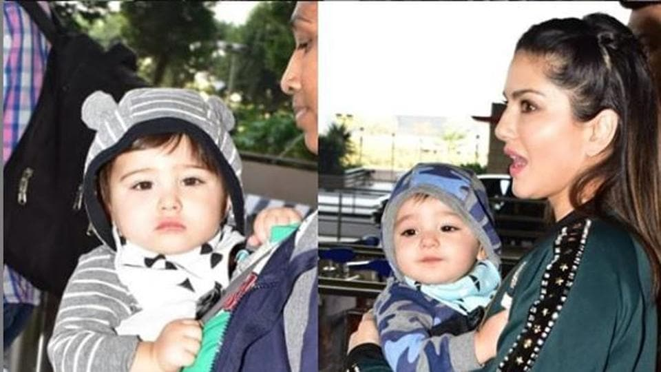 Sunny Leone Cant Stop Kissing Her Twin Sons As They Step Out