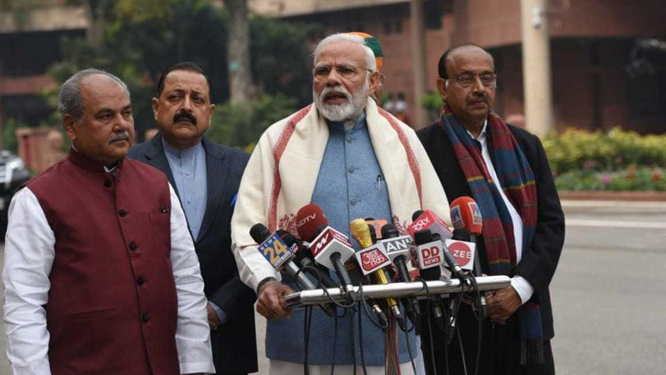 Prime Minister Narendra Modi speaks to the media as he arrives on the first day of the budget session in Parliament. The ruling NDA government will present the interim-budget as 2019 is an election year. (Mohd Zakir / HT Photo)