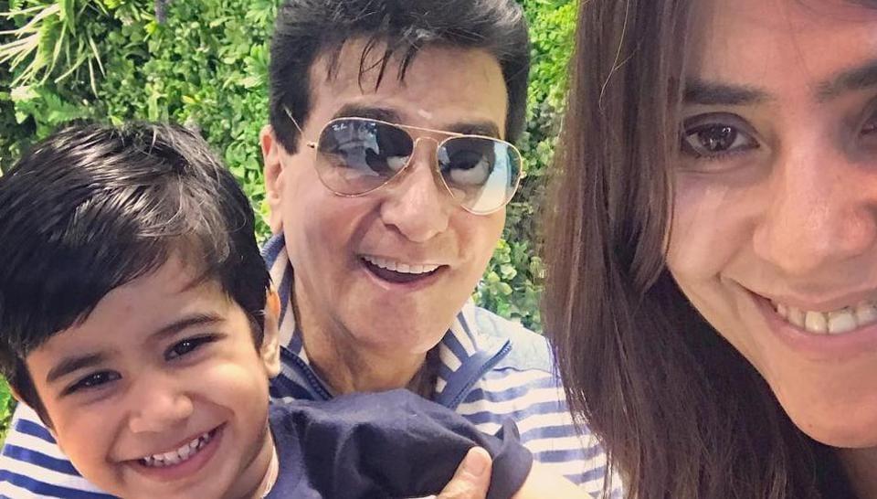 Ekta Kapoor with her father Jeetendra and nephew Laksshya.