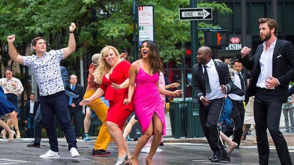 Priyanka Chopra, Rebel Wilson, Adam Levine and Liam Hemsworth in a still from Isn't It Romantic.