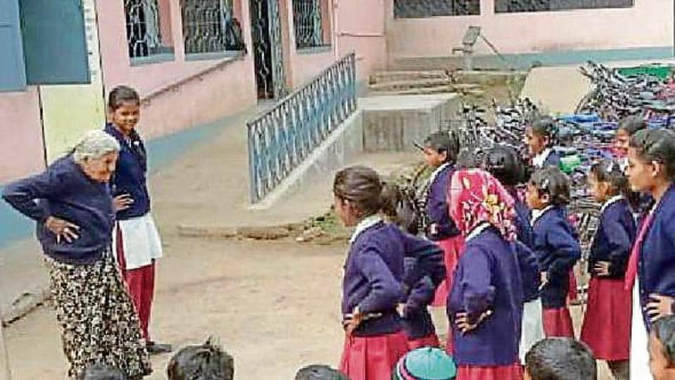 Isha Ghosh conducts a drill at a school in Jharkhand's Chaibasa