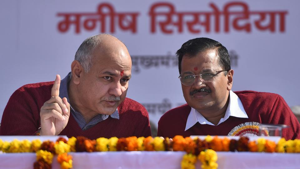 Delhi chief minister Arvind Kejriwal and deputy chief minister Manish Sisodia at an event in New Delhi.  The Aam Adami Party is likely to announce its candidates for LS elections soon.