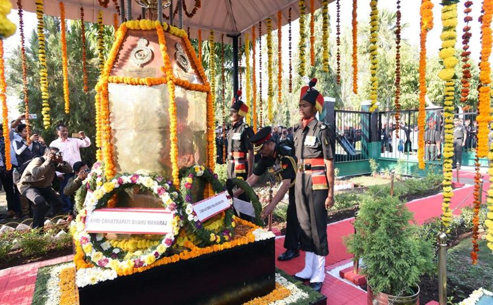 A wreath laying ceremony was organised as a solemn memorial service in honour of the gallant martyrs who laid down their lives for the glory of the battalion during the 250 years celebrations of 1st Maratha Infantry at Aundh Military Station on Wednesday. (Pratham Gokhale/HT Photo)