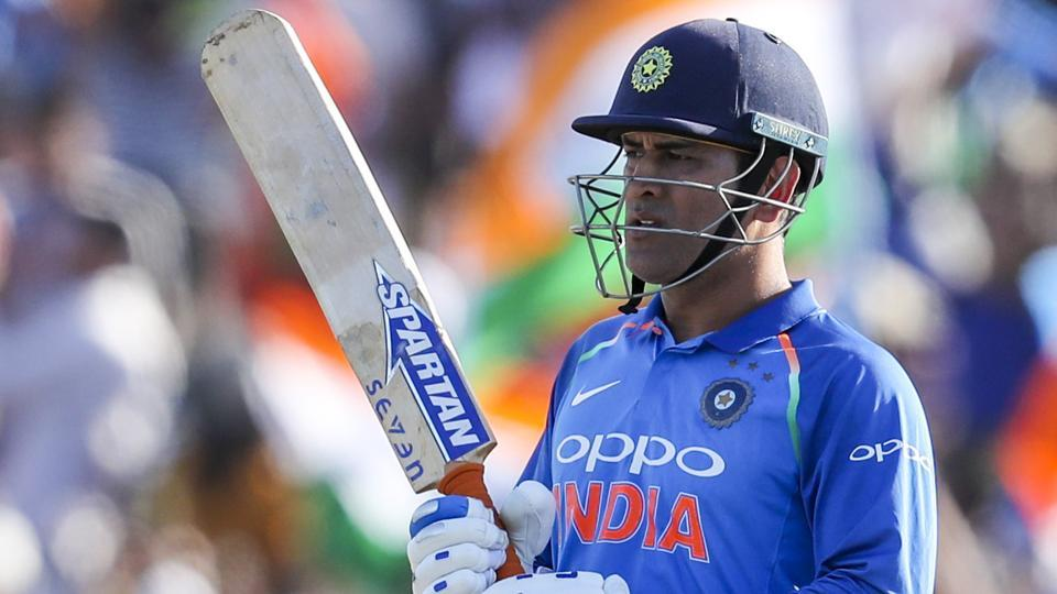 MS Dhoni of India reacts during the second one day international between India and New Zealand at Blake Park in Tauranga.
