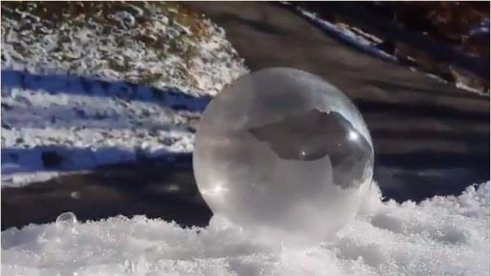 """""""Single digit temps allowed me to play with this experiment,"""" Twitter user @CandiceTrimble said about the video."""