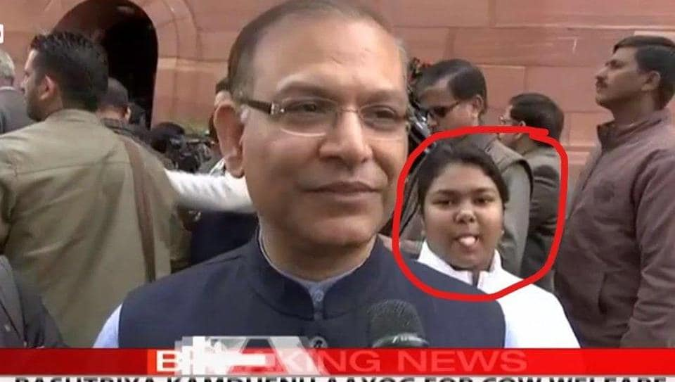 The viral video and image are of a moment when Sinha was commenting on finance minister Piyush Goyal's interim budget outside Parliament. Photo: Twitter/@DevjyotGhoshal