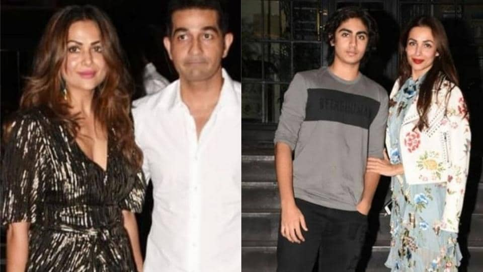 Amrita Arora with husband Shakeel Ladak at her birthday party. Malaika Arora too had arrived with her son Arhaan.