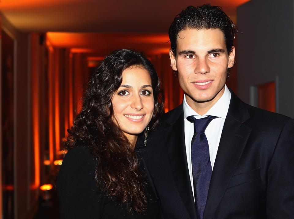 LONDON, ENGLAND - NOVEMBER 17: Rafael Nadal of Spain and girlfriend Maria Francisca Perello arrive at the Battersea Power Station during previews for the ATP World Tour Finals Tennis on November 17, 2011 in London, England. The world's top eight tennis players arrive at Battersea Power Station for the official Barclays ATP World Tour Finals Gala, hosted by Great Ormond Street Hospital Children's Charity, and generously supported by Moet & Chandon. (Photo by Julian Finney/Getty Images for ATP)