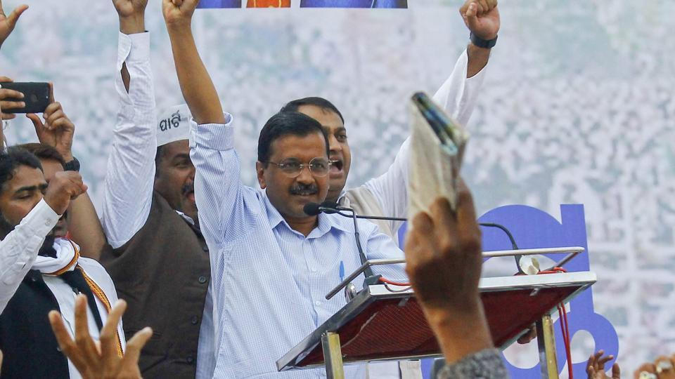 AAP leader and Delhi Chief Minister Arvind Kejriwal at an event on January 31, 2019. The party has formed 8 labour groups to strengthen its cadre at grassroot level.