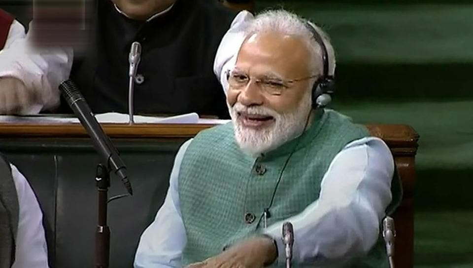 Prime minister Narendra Modi cheers as finance minister Piyush Goyal presents the interim Budget 2019-20 during the Budget Session at Lok Sabha, in New Delhi, Friday, Feb 1, 2019.