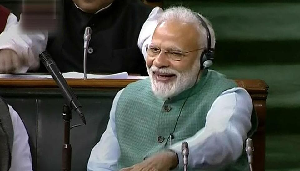 Prime Minister Narendra Modi cheers as Finance Minister Piyush Goyal presents the Interim Budget 2019-20 during the Budget Session at Lok Sabha, in New Delhi, Friday, Feb 1, 2019