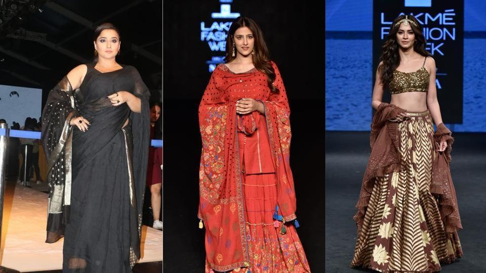 Vidya Balan, Nupur Sanon and Kriti Kharbanda at Lakme Fashion Week.