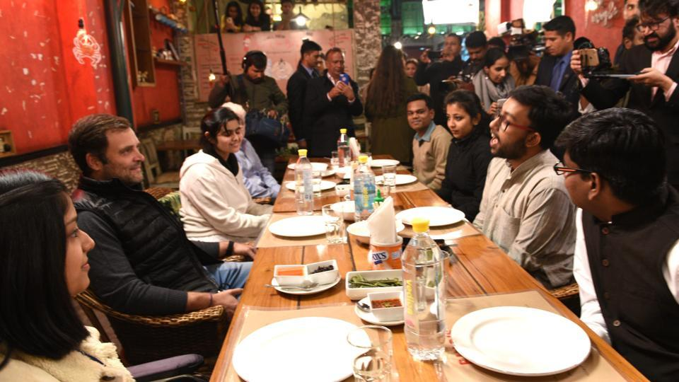 Congress president Rahul Gandhi interacts with college students during at a meeting in a restaurant at Lodhi Road, in New Delhi on February 1.