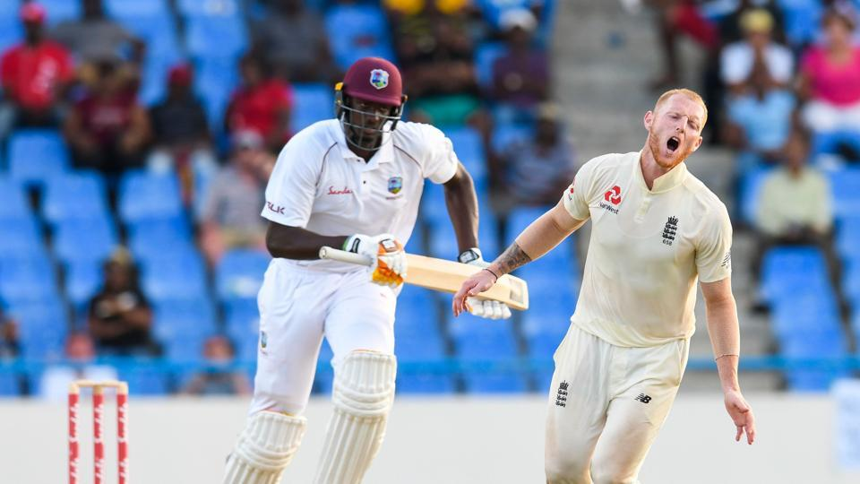 Jason Holder (left) will look to add to England's misery on the third day at the Vivian Richards Cricket Stadium in North Sound.