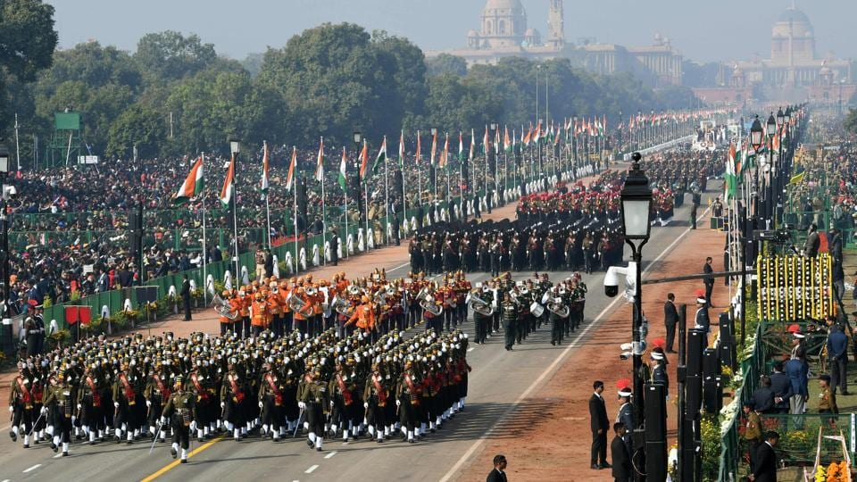 An Indian army contingents marches during the Republic Day parade in New Delhi on January 26.