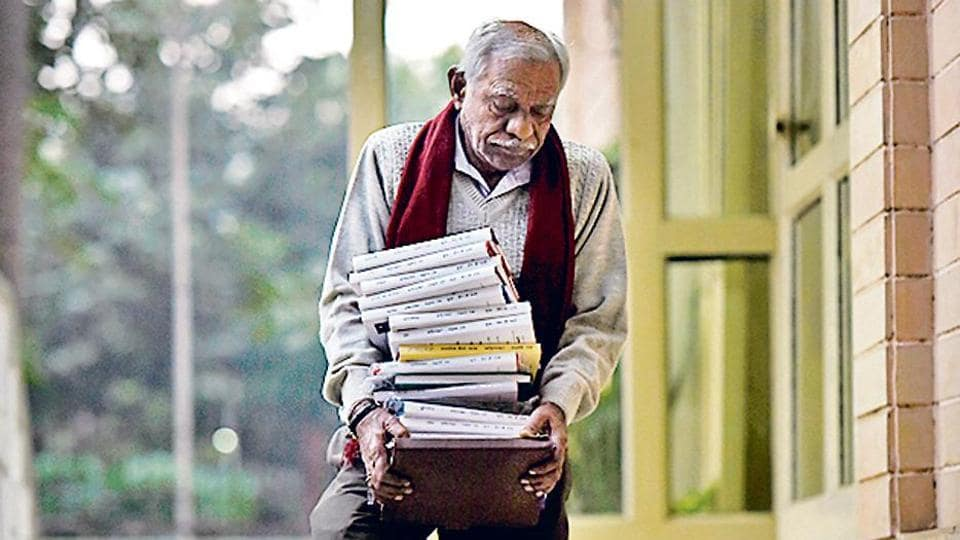 Laxman Rao with his novels at the Hindi Bhawan, where he conducted a workshop, in New Delhi.