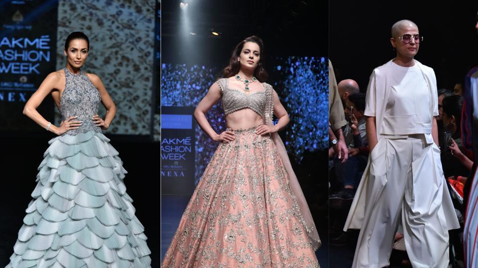 Malaika Arora, Kangana Ranaut and Tahira Kashyap walk the ramp at the Lakme Fashion Week.