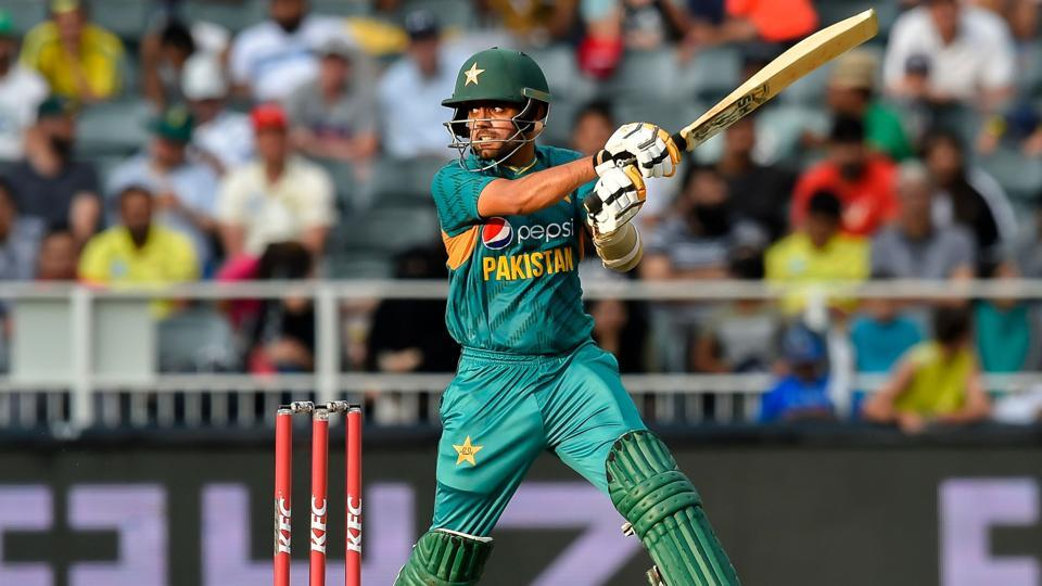 Babar Azam plays a shot during the second T20 cricket match between South Africa and Pakistan.