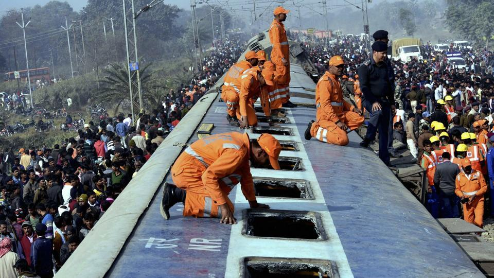 Rescue and relief works in progress after the nine coaches of Delhi-bound Seemanchal Express derailed at Sahadai Buzurg station in Hajipur ,Bihar on Sunday.