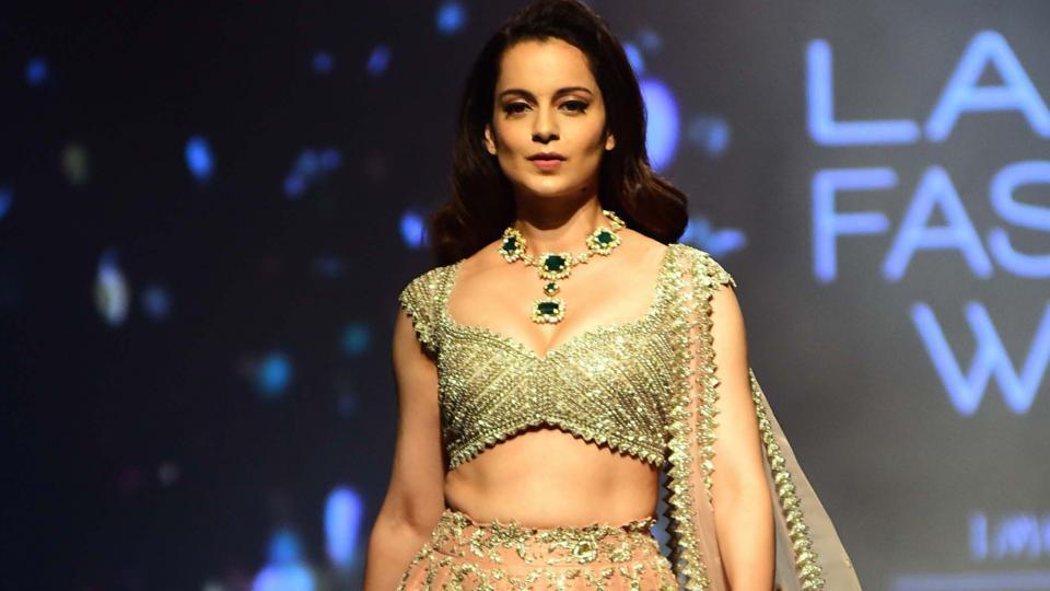 Kangana Ranaut showcases fashion designer Anushree Reddy's creation during Lakme Fashion Week (LFW) Summer/Resort 2019 in Mumbai.