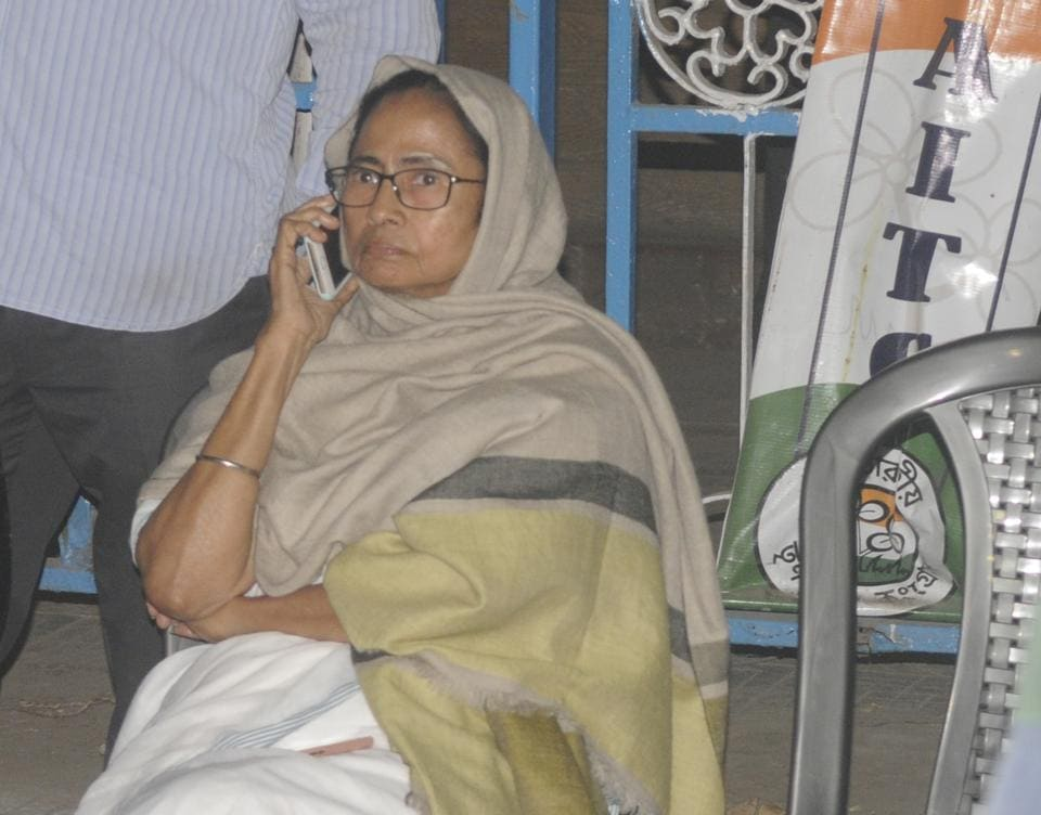 West Bengal chief minister Mamata Banerjee began a sit-in dharna in front of Metro station at Esplanade to protest the CBI's move to question Kolkata Police commissioner Rajeev Kumar .
