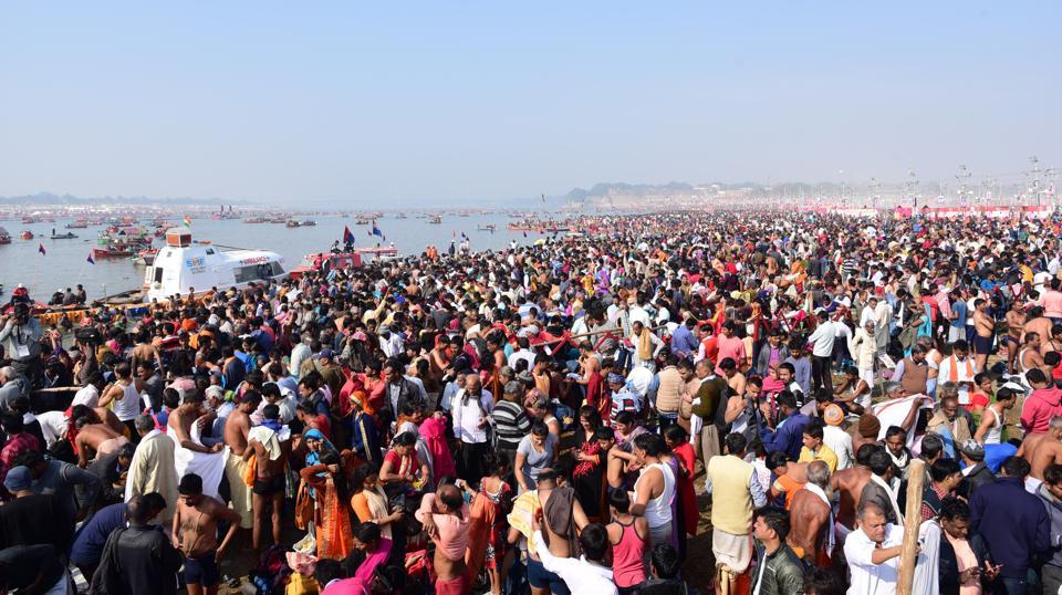 At least 7.49 crore devotees have taken the dip in the waters of Sangam in Prayagraj till Sunday since the beginning of the 49-day Kumbh Mela from January 15, the Uttar Pradesh government has said. A report said that on the first day of the Kumbh Mela, which began with the first of the three Shahi Snans of Makar Sankranti, 2.25 crore people bathed in the Sangam. (Sheeraz Rizvi / HT File)