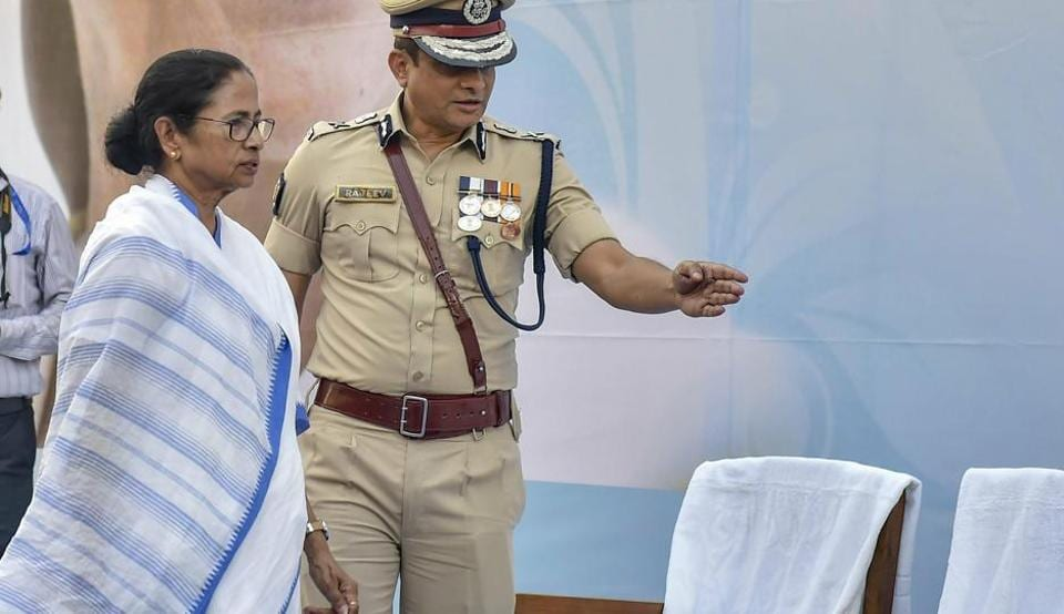 West Bengal Chief Minister Mamata Banerjee with Kolkata Police commissioner Rajeev Kumar during the Joint Investiture Ceremony of West Bengal Police and Kolkata Police, in Kolkata on Monday at the site of her dharna.