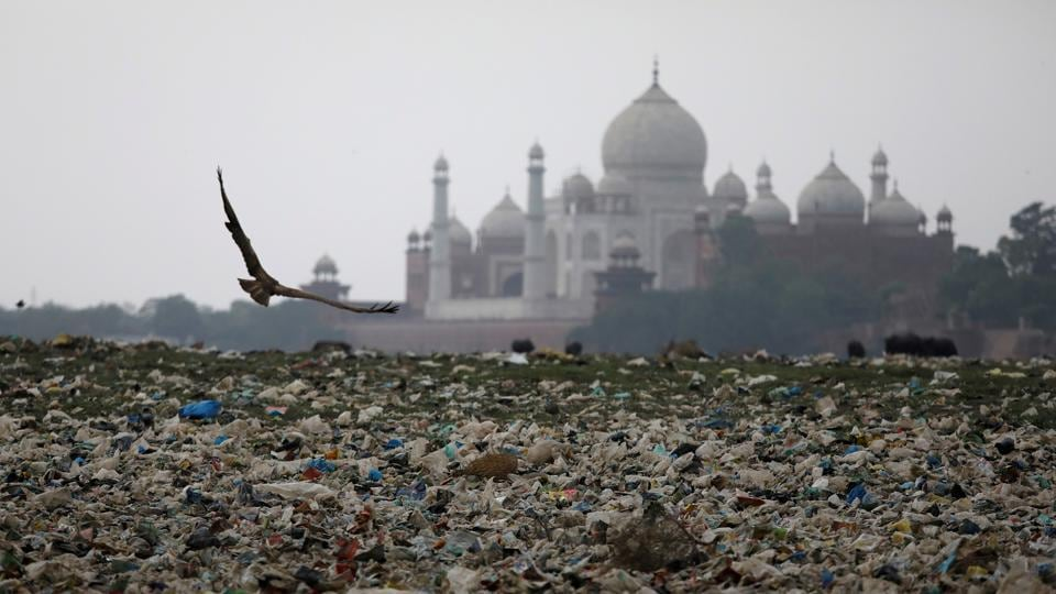 Garbage is seen on the polluted banks of the river Yamuna near the historic Taj Mahal, Agra. Three in five monitored rivers across the country are polluted
