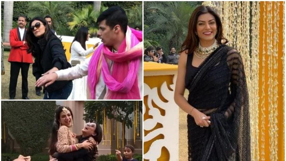 Sushmita Sen attended the wedding of her nephew in Delhi on Monday.