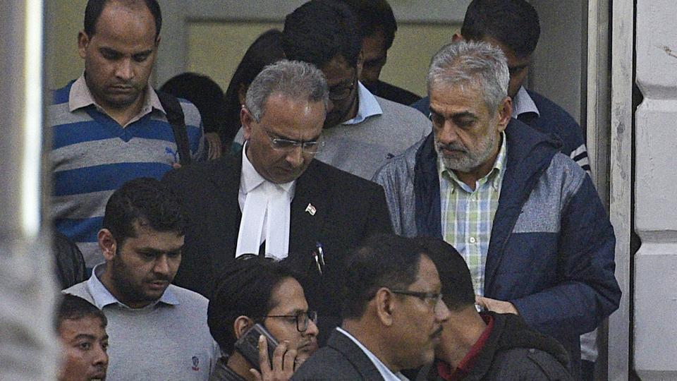 Deepak Talwar, arrested in a money laundering case, being taken to the Patiala house court by the Enforcement Directorate officials in New Delhi.