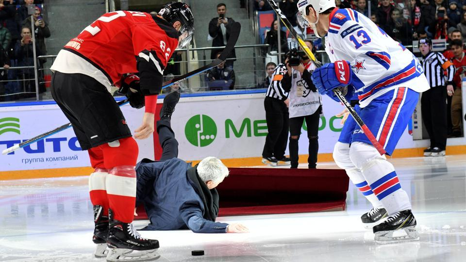 Mourinho Takes A Tumble At Russian Ice Hockey Game Football