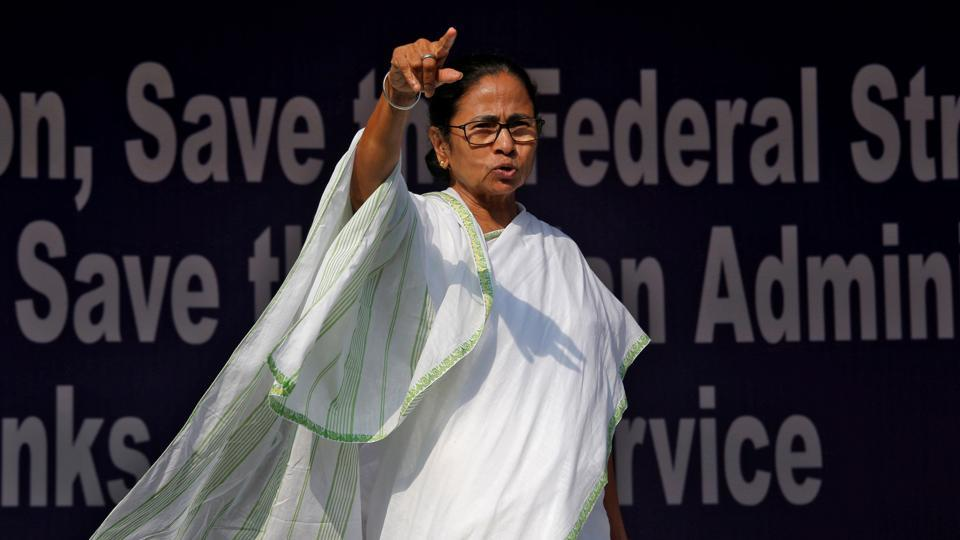 West Bengal chief minister Mamata Banerjee gestures at Dharna Manch during 'Save the Constitution' dharna in Kolkata on February 5.