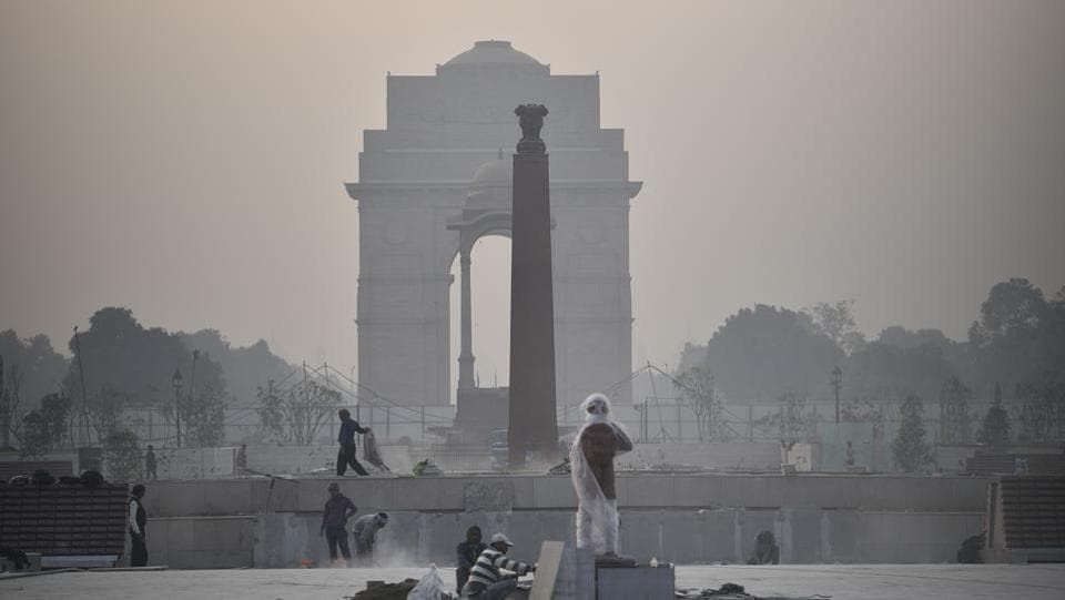 A view of the under-construction National War Memorial, at India Gate Lawns, in New Delhi.