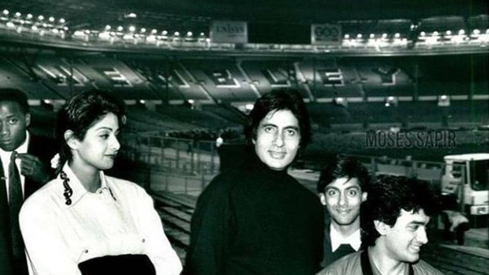 AmitabhBachchan shared this throwback picture featuring Sridevi, Aamir Khan and Salman Khan on Instagram.