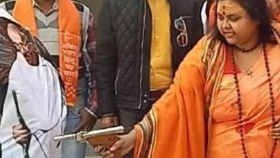 All India Hindu Mahasabha leader seen firing at Mahatma Gandhi's effigy on his death anniversary on January 30 arrested in Uttar Pradesh.