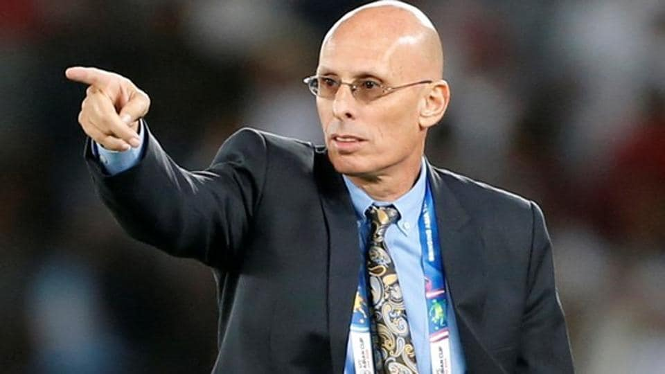 Stephen Constantine reacts during the Asian Cup 2019.