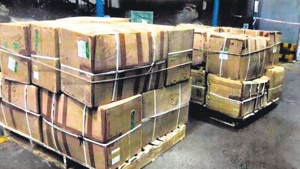 Cartons of dry Khat leaves seized at IGIairport.