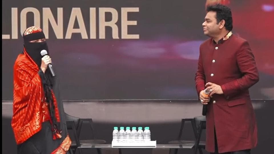 AR Rahman with daughter Khatija Rahman on stage.