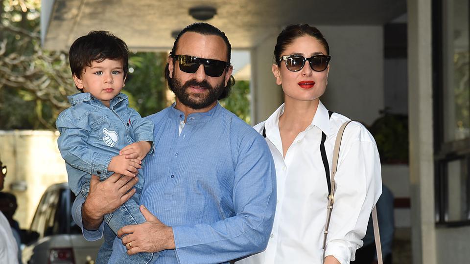 Saif Ali Khan and Kareena Kapoor with their son Taimur Ali Khan. (Photo by Sujit Jaiswal / AFP)
