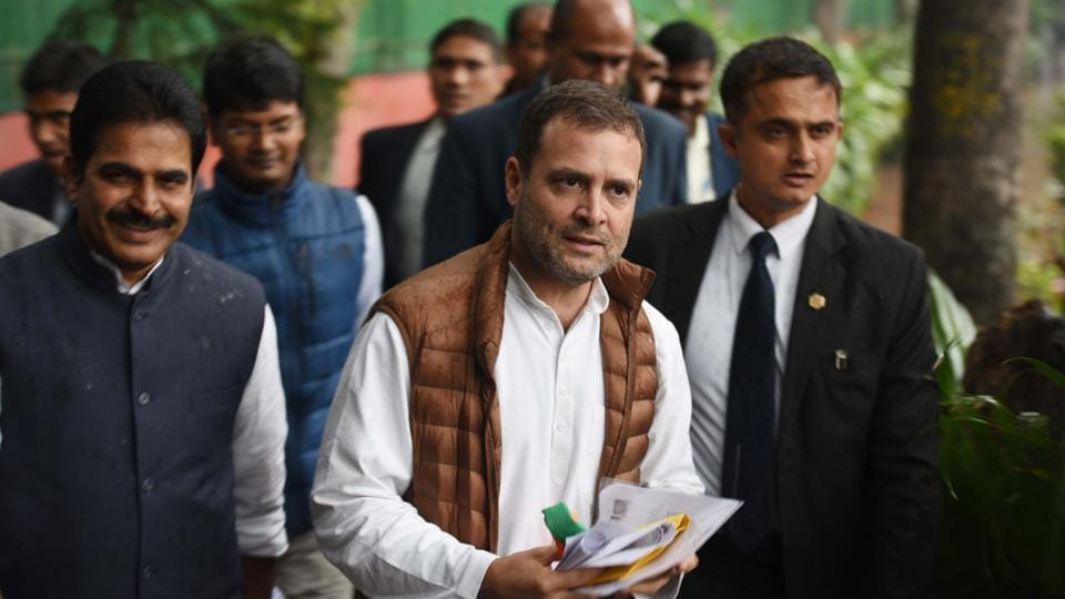 Congress President Rahul Gandhi arrives for general secretaries meeting at congress headquarters in New Delhi on Thursday.
