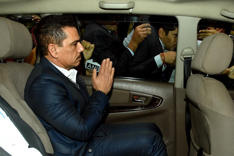 Businessman Robert Vadra arrives at Enforcement Directorate office in New Delhi, India, on Thursday, February 7, 2019. He was questioned for over 2 hours at the Enforcement Directorate's office in a second round of questioning in connection with a money laundering case. (Photo by Amal KS/ Hindustan Times)