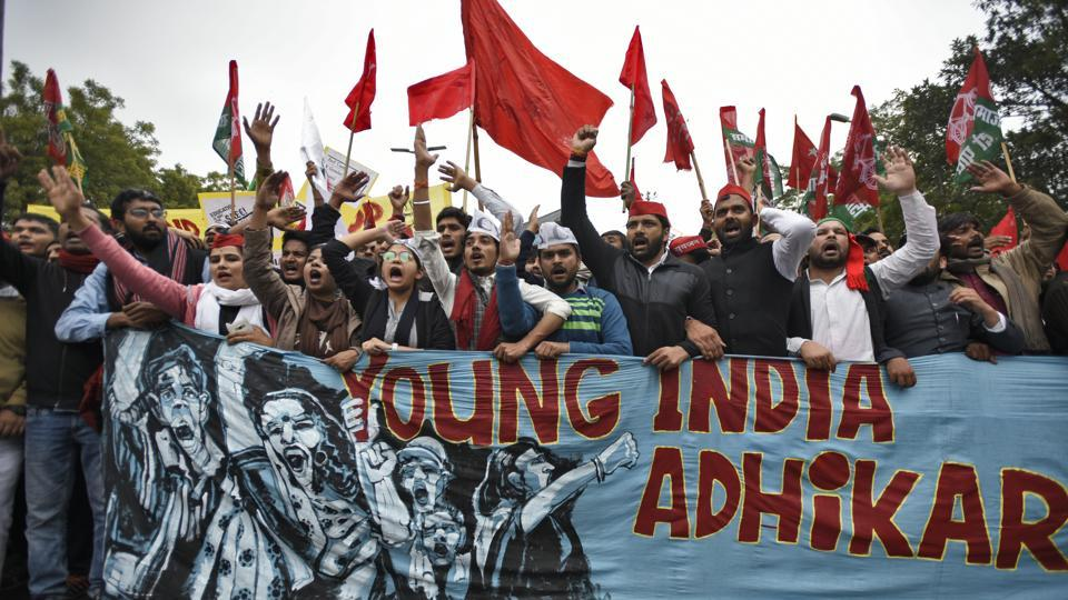 Student groups affiliated to opposition political parties marched from Red Fort to Jantar Mantar as they participated in the Young India Adhikar March against Prime Minister Narendra Modi's government over a range of issues including lack of jobs, investment in the education sector and autonomy of universities. (Burhaan Kinu / HT Photo)
