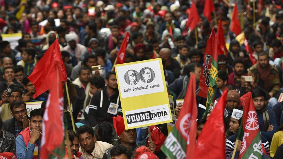 The Young India National Coordination Committee (YINCC) claimed that over the past five years, youth movements have fought against unemployment, corruption and paper leak in the employment exams like the SSC movement, railway movement, para-teachers' movement among others. (Burhaan Kinu / HT Photo)