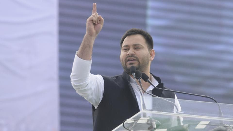 The Supreme Court dismissed former Bihar deputy chief minister Tejashwi Yadav's plea, challenging the Patna High Court order asking him to vacate the government bungalow meant for the deputy chief minister, and ordered him to shift to an accommodation for the leader of the opposition. The SC bench also imposed a fine of Rs 50,000 on the Rashtriya Janata Dal (RJD) leader for challenging the decision. (Samir Jana / HT File)