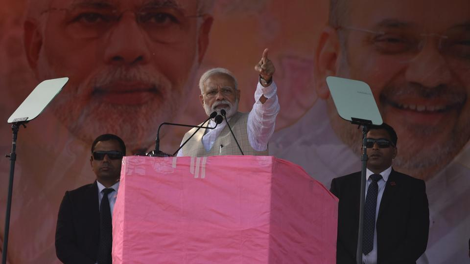 Prime Minister Narendra Modi addressed a public meeting in Chhattisgarh's Raigarh district. He also addressed a rally in West Bengal's Maynaguri and laid the foundation stone for the four-laning of the Falakata – Salsalabari section of NH-31 D and inaugurated New High Court Circuit Bench in Jalpaiguri. (Arijit Sen / HT File)