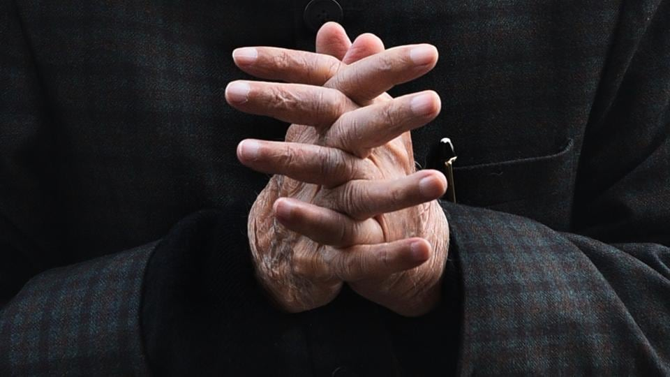 Senior BJP Leader L K Advani seen with folded hands at Parliament during Budget Session of Parliament in New Delhi, India. (Vipin Kumar / HT Photo)