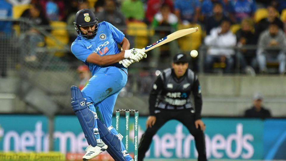 Rohit Sharma plays a shot during the first Twenty20 match against New Zealand.