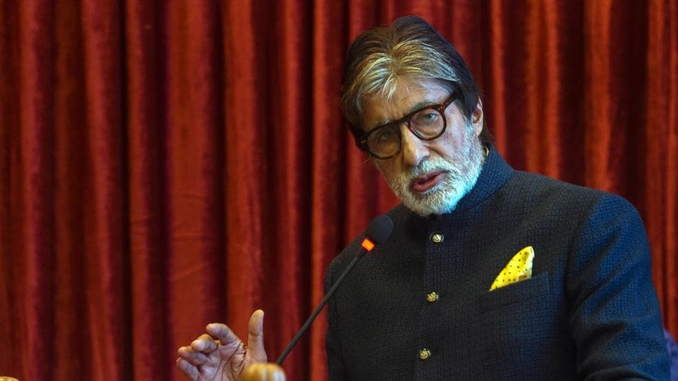 Bollywood actor Amitabh Bachchan speaks during an event.