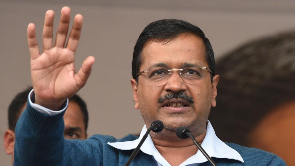 An official said that a  group of about 100 men tried to stop Arvind Kejriwal's car and attacked it with sticks.